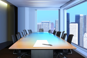 meeting room in front focus placed sheet of paper and pen on table